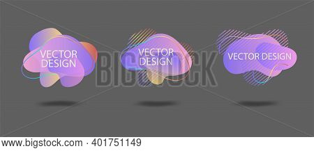 Set Of Vector Liquid Gradient Elements Isolated On White Background. Abstract Elements For Trendy Vi