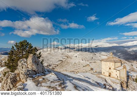 Church Of Santa Maria Della Pietà In The Municipality Of Calascio, In The Province Of L'aquila, In A