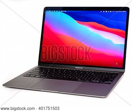 Ottawa, Ontario, Canada - January 3, 2021: A Late 2020 Model Of A 13-inch Macbook Air Laptop Compute
