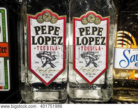 Belgrade, Serbia - December 18, 2020: Tequila Pepe Lopez Logo On One Of Their Bottles. Pepe Lopez Is