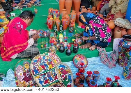 Kolkata, West Bengal, India - 31st December 2018 : Indian Married Couple, Husband And Wife, Both Art