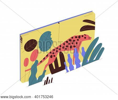 Opened Book With Leopard Standing In Tropical Leaves Vector Flat Illustration. Textbook, Fairytales
