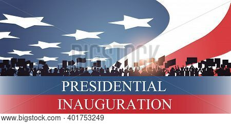 People Silhouettes Holding Placards Usa Presidential Inauguration Day Celebration Concept Greeting C