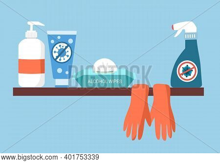 Covid-19 Coronavirus Or Germs Cleaning Items- Alcohol Gel, Alcohol Wipes, Gloves, Hand Wash Cleanser
