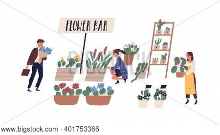 Buyers And Florist At Outdoor Flower Bar, Fair Or Market Vector Flat Illustration. People Selling, B
