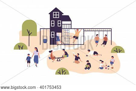 Crowd Of Happy Children Spending Time At Outdoor Playground Vector Flat Illustration. Kids Playing W