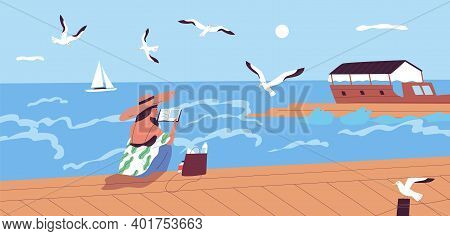 Woman Reading Book At Waterfront Alone Vector Flat Illustration. Female Character Spending Time Alon