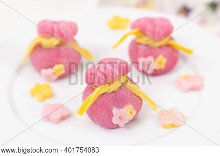 Chinese New Year Fortune Bag Or Money Bag Shaped Mochi