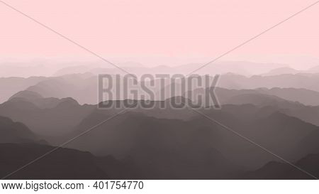 Aerial View Of Foggy Mountains From Bird's Eye, Flight Over Mountains, 3d Render