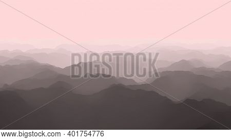 Aerial View Of Majestic Foggy Mountains , Flight Over Mountains, 3d Render
