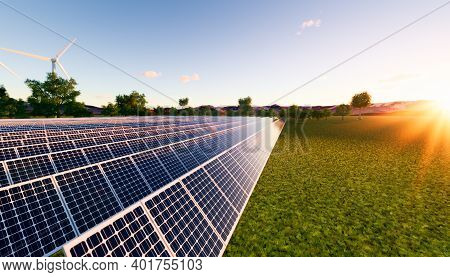 3d Rendering Of Row Solar Panel In Green Field Reflection With Sunlight To Show Converting Sunlight