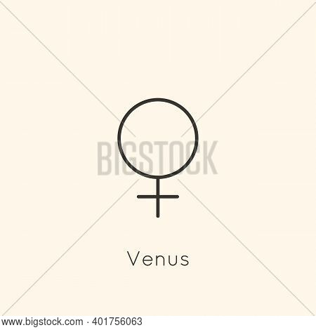 Venus Planet Symbol Icon In Minimal Liner Trendy Style. Vector Astrological Sign For Logo, Tattoo, C