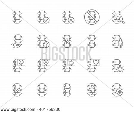 Set Of Human Spine Line Icon. Healthy Vertebral Column, Spinal Canal Illness Diagnosis, Treatment An