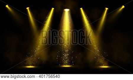 Stage Lights, Gold Spotlight Beams With Smoke And Sparkles On Black Background, Glowing Elements For
