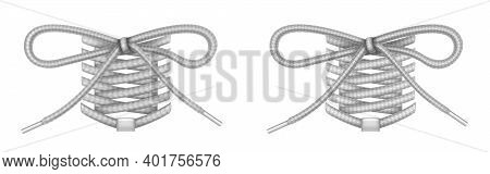Shoe Laces With Bow Knot, Footgear Accessories, Grey Shoelaces With Eglets Mockup, Ropes, Decorative