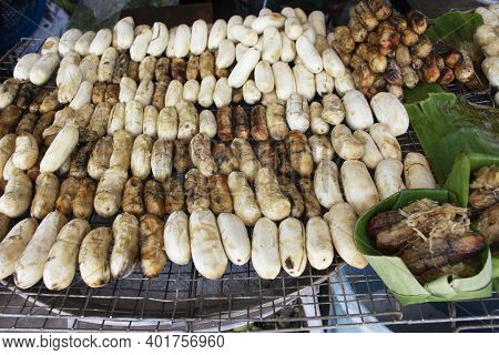 Pisang Awak Or Cultivated Bananas Grilled Roasted With Coat Honey On Local Coal Stove For Sale Thai