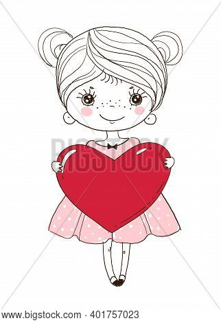 Cute Little Girl Is Holding A Big Red Heart. Doodle Illustration For Wedding, Valentine S Day. Roman