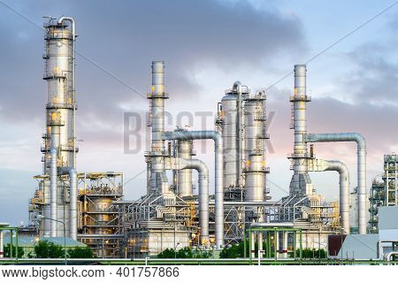 Oil Refinery Plant And Industrial Factory Building Construction From Engineering Technology With Ste