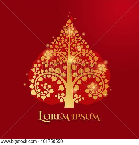 Golden Bodhi Tree Silhouette Shape With Lighting Effect Use For Logo, Decoration.