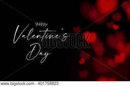 Valentine's Card Black And Dark Night Background With Red Bokeh Heart Shape