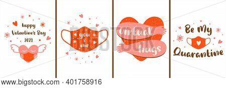 Covid Valentines Card Set. Pink Social Distance Banner. Pink Face Mask, Heart In Medical Mask, Virtu