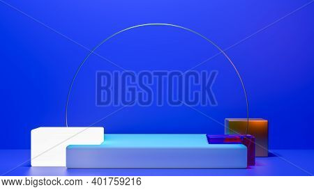 Shiny Pedestal Podium. Abstract 3d Concept Illuminated Pedestal By Spotlights. Perfect Image For Fas