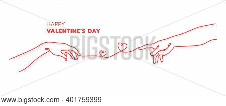 Two Hands With Red Thread Destiny Concept.creation Of Adam Hand Drawn. Happy Valentine's Day Minimal