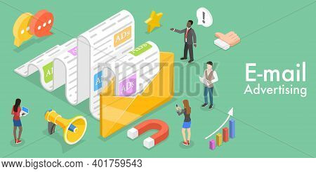 3d Isometric Flat Vector Conceptual Illustration Of Mobile Email Marketing.