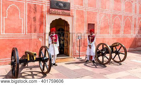 Jaipur, Rajasthan - 18 Oct, 2019 - Guards And Cannons At The City Palace Jaipur