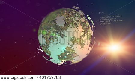 Planet From Space, Hyper Realistic Planet With Nice Environmental Light Effects, Technology And Busi