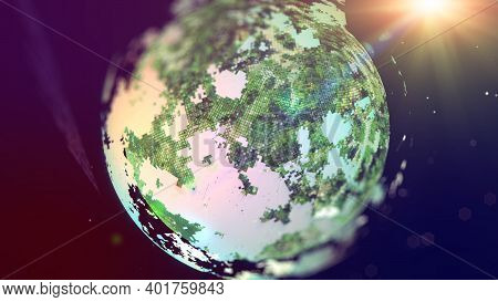 Closeup Of Planet From Space, Realistic Planet With Nice Environmental Light Effects,technology And
