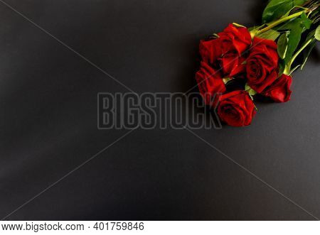 Red Roses On A Black Background, Postcard, Banner, Flat Lai On The Funeral