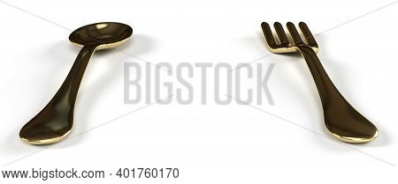 Antique Gold Spoon And Fork In White Background 3d Render