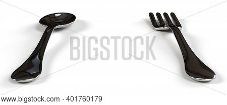 Silver Spoon And Fork In White Background 3d Render