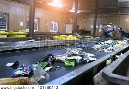 Waste Sorting And Recycling Line. Recycling Of Secondary Waste.