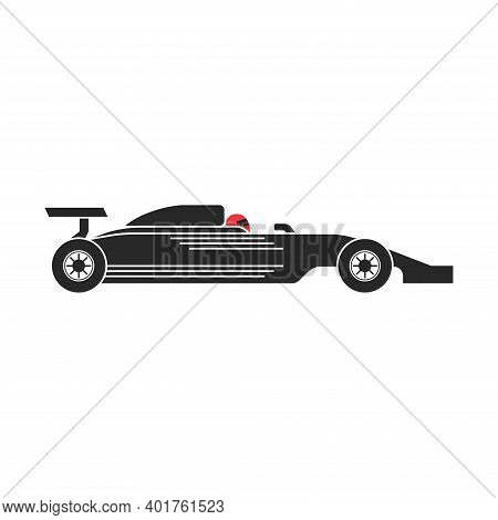Silhouette Of A Racing Car Logo Formula 1 With A Racer In A Red Motorcycle Helmet, Motorsport Illust