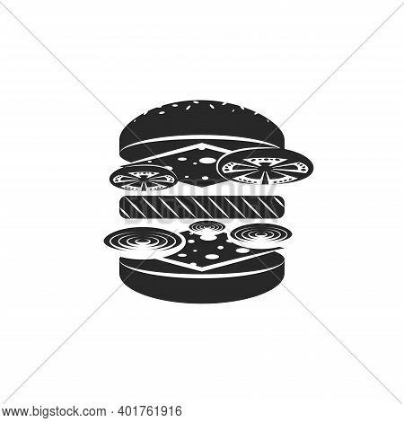 Hamburger Logo, Black And White Emblem Cheeseburger Menu Minimal Style, Burger Ingredients In Isomet