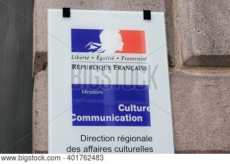 Bordeaux , Aquitaine  France - 12 28 2020 : Ministere Culture Communication And Regional Directorate