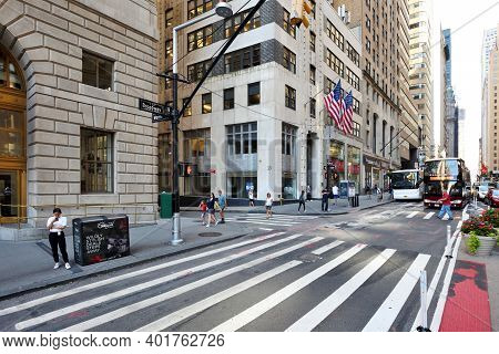 New York City - August 23: Unidentified People On The Street In Manhattan On August 23, 2017 In New