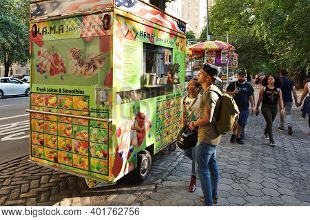 New York City - August 25: Street Food Cart In Manhattan On August 25, 2017 In New York City, Ny. Ma