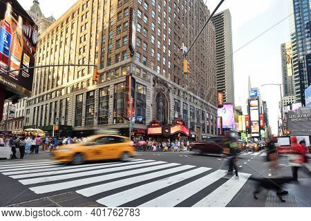 New York City - August 26: Street In Manhattan On August 26, 2017 In New York City, Ny. Manhattan Is