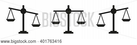 Icon Of Justice. Scale And Balance For Law. Integrity For Judge. Symbol Of Legal Or Litigation. Simp