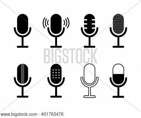 Icon Of Microphone. Podcast Symbol. Icon For Speak, Radio And Audio Record. Mic Of Studio. Logo Of V