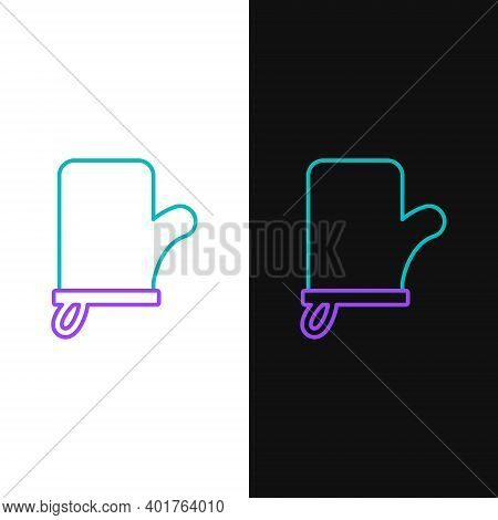 Line Sauna Mittens Icon Isolated On White And Black Background. Mitten For Spa. Colorful Outline Con