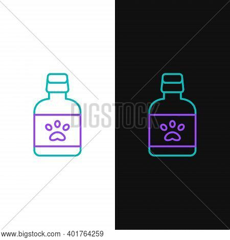 Line Dog Medicine Bottle Icon Isolated On White And Black Background. Container With Pills. Prescrip