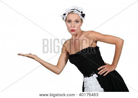 woman in maidservant costume