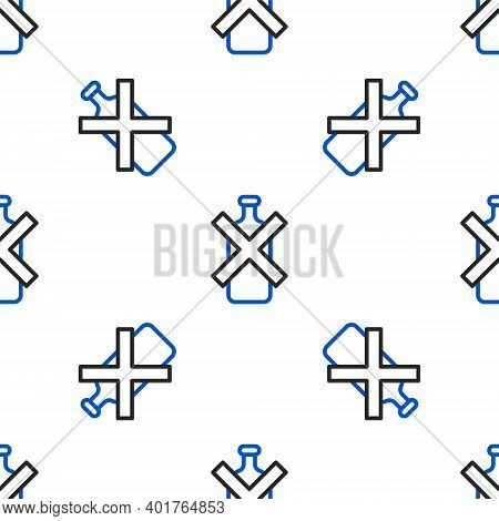 Line No Alcohol Icon Isolated Seamless Pattern On White Background. Prohibiting Alcohol Beverages. F