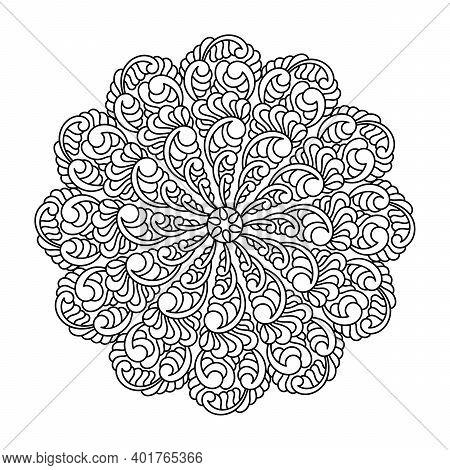 Coloring Book, Mandala, Fantastic Flower, Mehndi Flower Pattern . For Adults And Older Children. Orn
