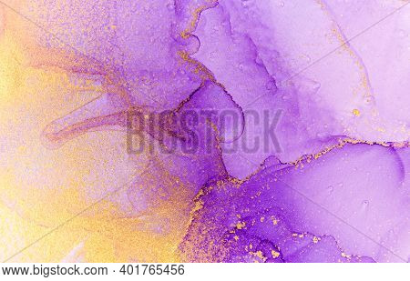 Abstract Purple Watercolor Background. Violet And Gold Alcohol Ink Pattern.