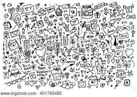 Valentines Day Doodle .a Large Set Of Cute Hand-drawn Elements About Love. Design Elements In The St